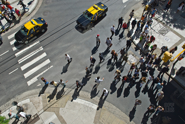 Buenos Aires, Argentina - January 24, 2010: Elevated view of busy crossroads