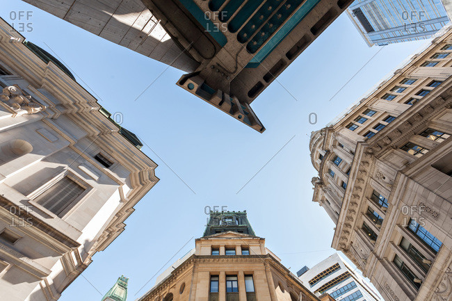 Low angle view of downtown buildings in Buenos Aires, Argentina