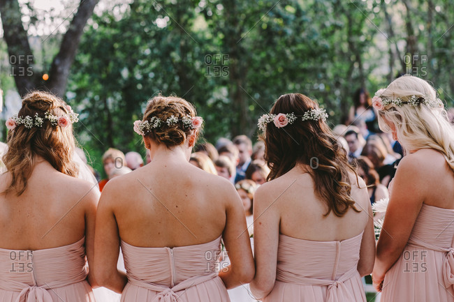Bridesmaids during a wedding ceremony