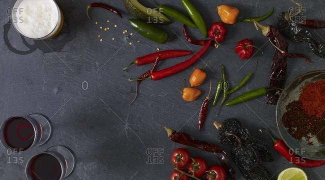 Still life of various chili peppers