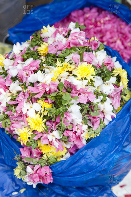 Bags filled with flowers at an Indian flower market