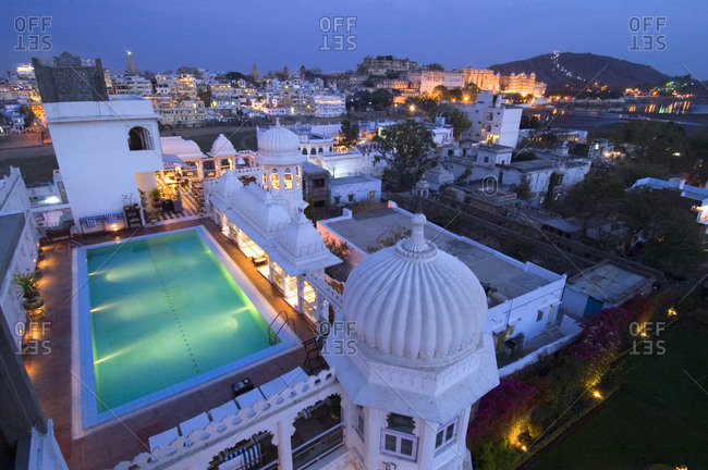 Cityscape of Udaipur at night in India