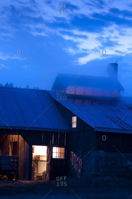 Sugar house at dusk in Chittenden, Vermont