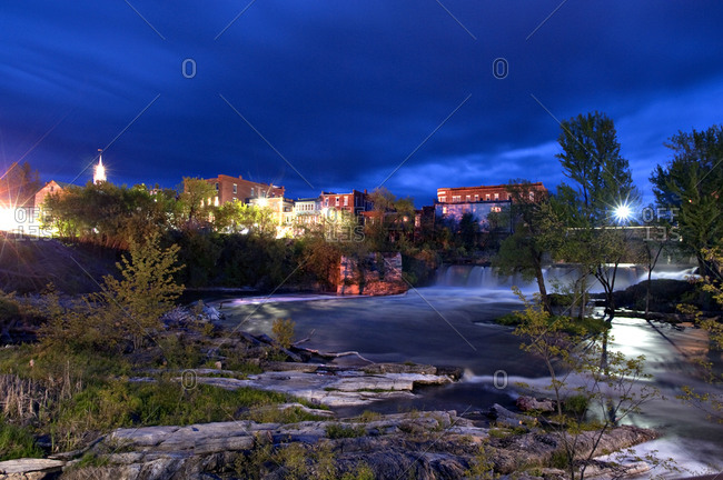 Otter Creek Falls at twilight in Middlebury, Vermont