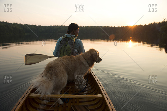 Woman canoeing with a dog on Grout Pond in the Green Mountain National Forest in Stratton, Vermont