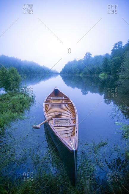 Canoe at Green River Reservoir in Hyde Park, Vermont
