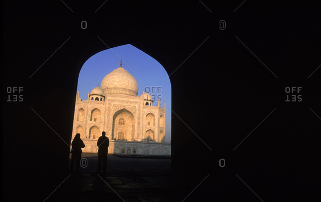 Two visitors at the Taj Mahal, India