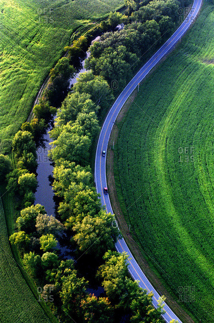 Aerial view of a road along Otter Creek in Brandon, Vermont