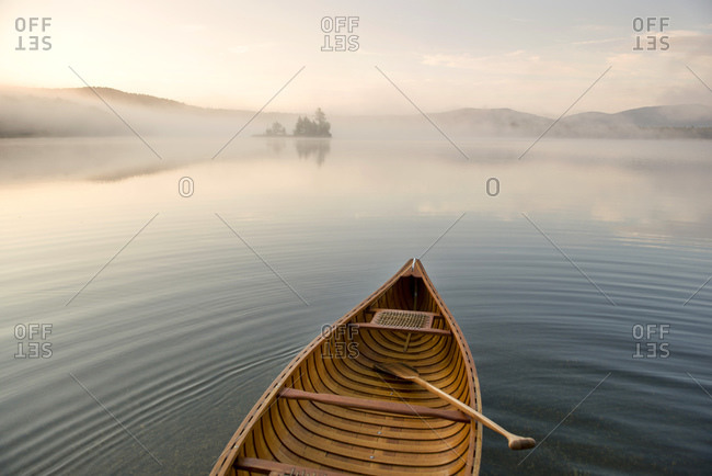 Canoe on Lake Ninevah in Mount Holly, Vermont