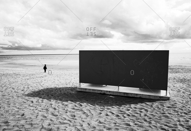 Changing cabin on a sandy beach