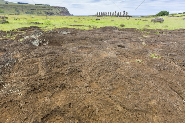 Petroglyphs carved in the lava at the 15 moai restored ceremonial site of Ahu Tongariki