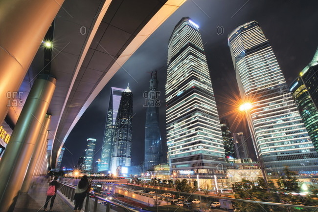 Wide angle view of ultra modern architecture in Shanghai Pudong at night