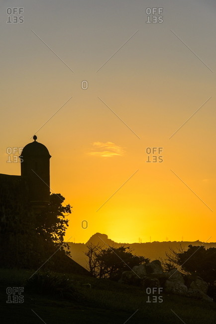 Backlit watchtower of the Fortress of Fortaleza San Felipe