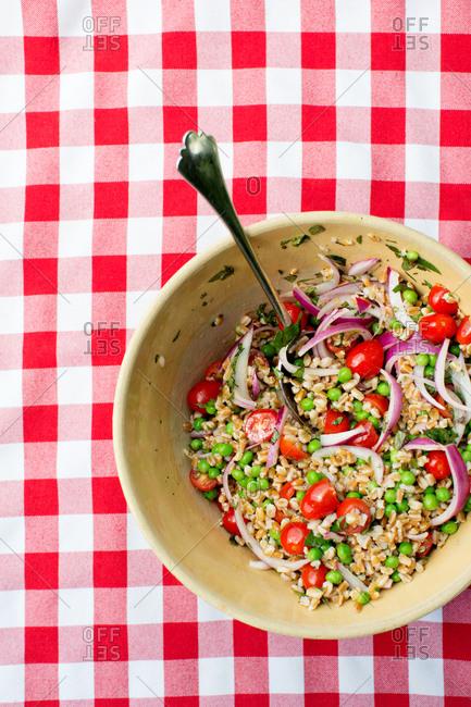Barley salad served on a tabletop