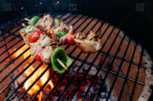 Roasted chicken skewers on a grill grid