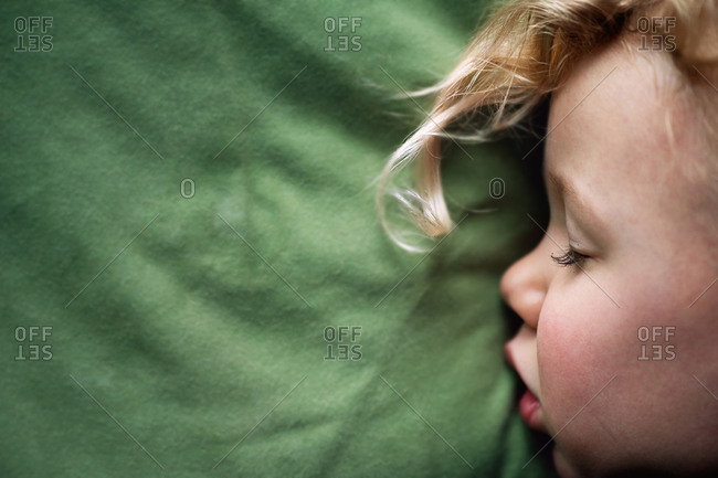 Close up of a girl napping