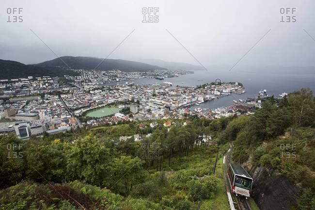 Funicular passing through Bergen, Norway