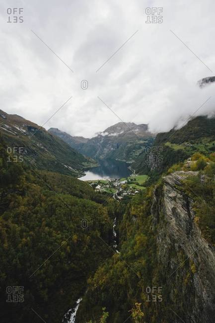 Landscape of Geirangerfjord in rural Norway