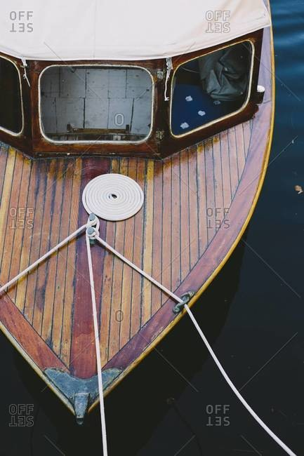 Prow of a boat in a canal, Denmark