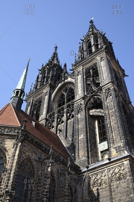 View of Meissen cathedral from below, Saxony