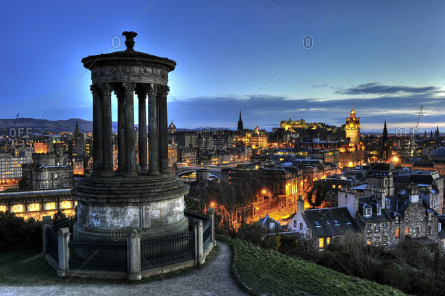 City view from Carlton Hill with Dugald Stewart Monument