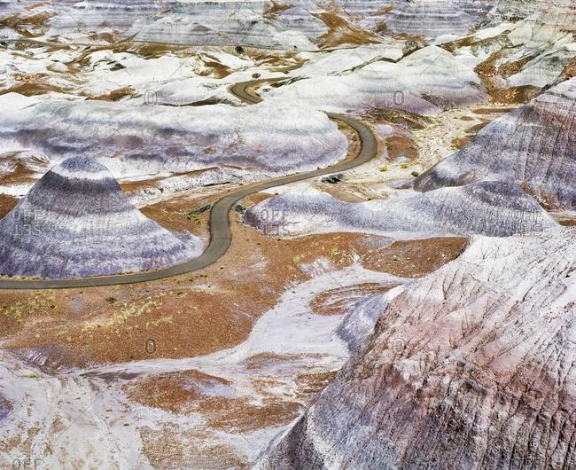 Blue Mesa Painted Desert in Petrified Forest National Park, USA