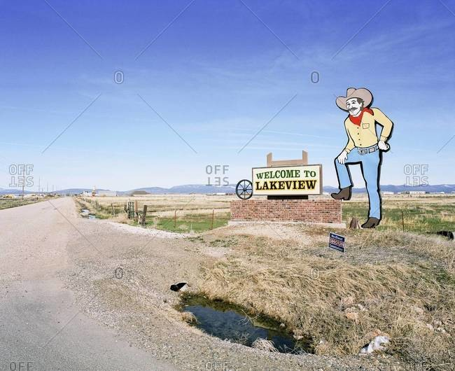 Cowboy sign on a way to Lakeview, Oregon