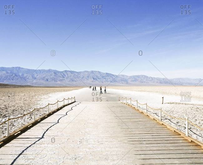 End of boardwalk in Badwater Basin, Death Valley National Park, USA