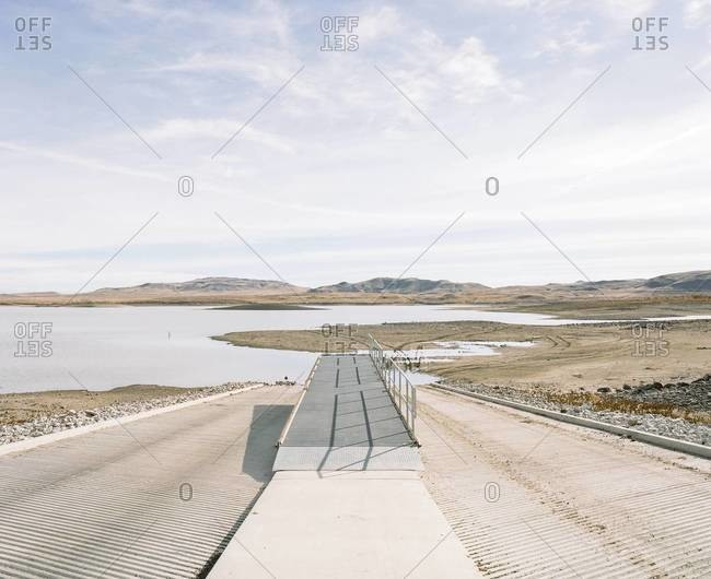 Boat launch at a reservoir with very low water, Lahontan State Recreation Area, near Fallon, Nevada