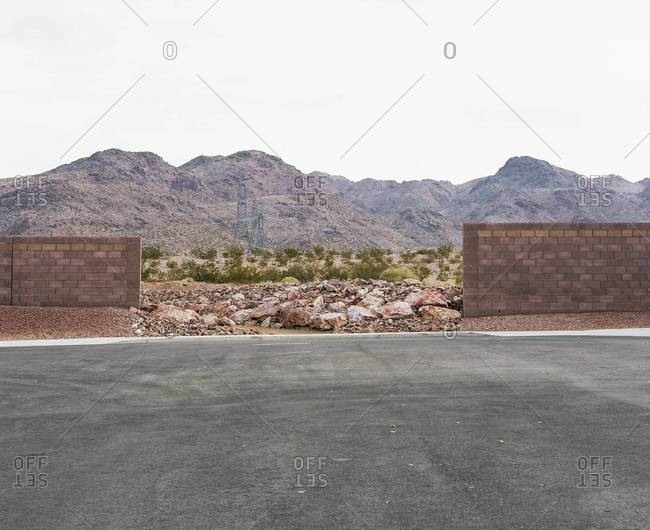 End of a street with opening to the desert in Henderson, Nevada
