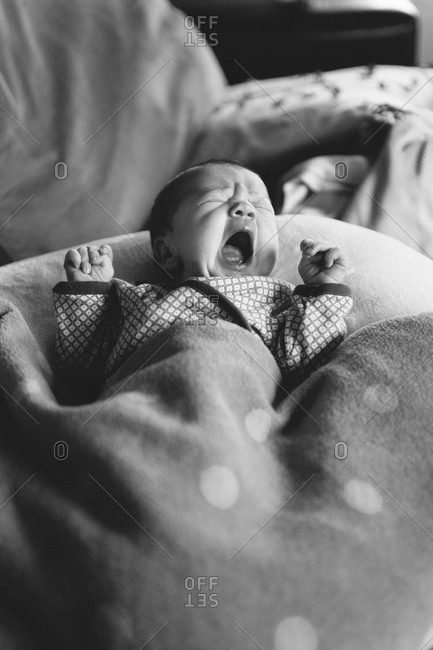 Close up of a yawning baby girl