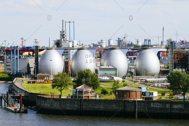 Digestion tanks of water treatment plant Koehlbrandhoeft at River Elbe