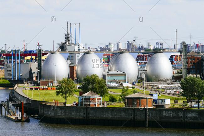 Digestion tanks of water treatment plant Koehlbrandhoeft at River Elbe