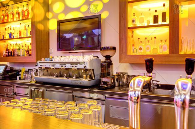 Coffee machine in a bar