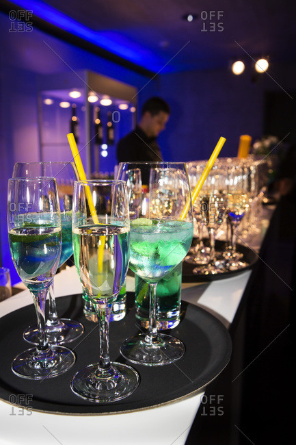 Aperitives and Prosecco glasses on the bar