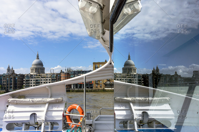 City of London, St Paul's Cathedral, seen from a water taxi