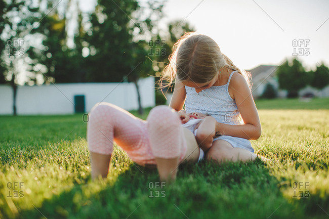 Girls playing in a field