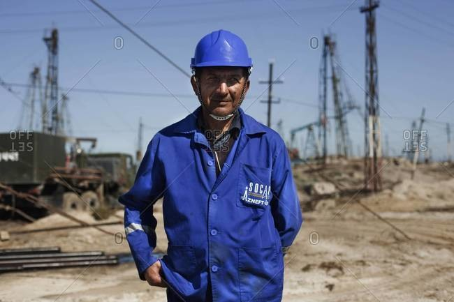 Baku, Azerbaijan - October 14, 2011:Portrait of a worker in an oil field