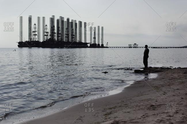 Oil spill drill in the Caspian Sea, Azerbaijan