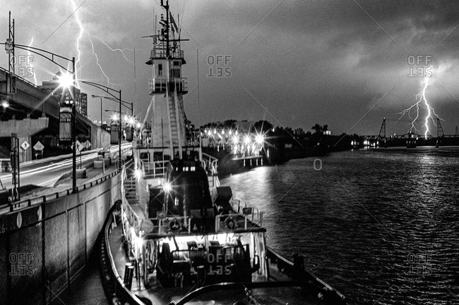 New York City Harbor - Circa - 2000: Lightning strike during a thunderstorm in NYC port