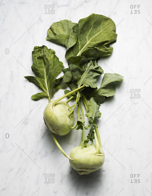 Kohlrabi stems with leaves on marble counter