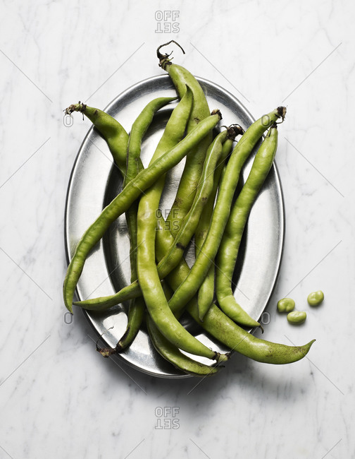 Top view of raw fava beans