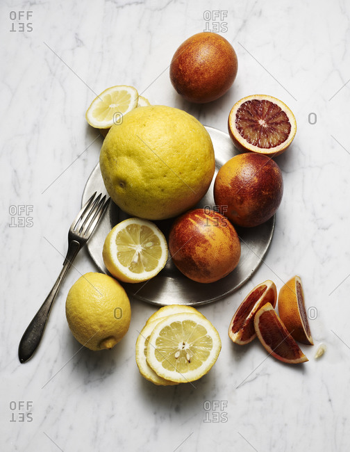 Top view of various citrus fruits
