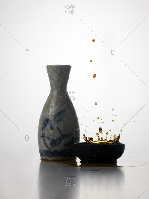 Still life of Japanese traditional sake bottle and cup