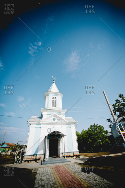 Small blue and white Orthodox Christian church