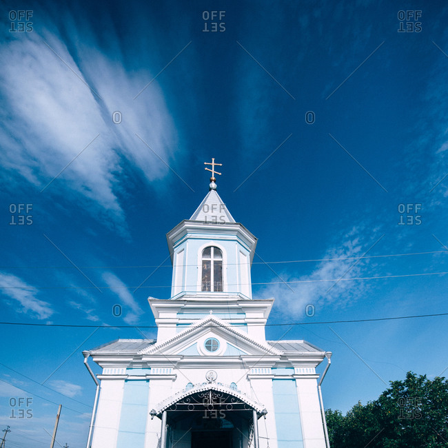 Blue and white Orthodox church