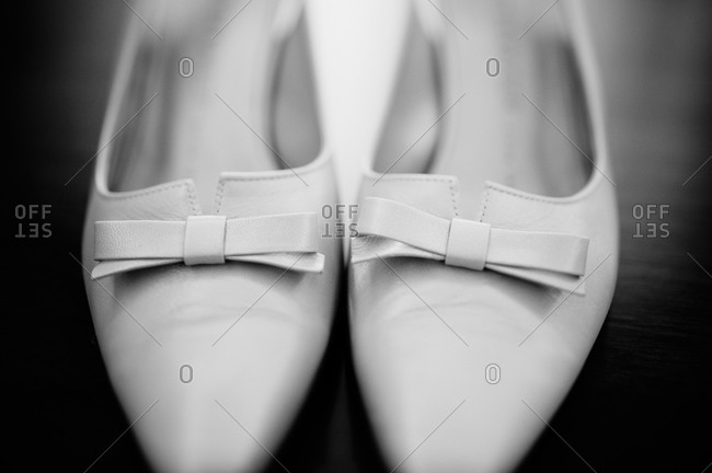 Close-up of bridal shoes