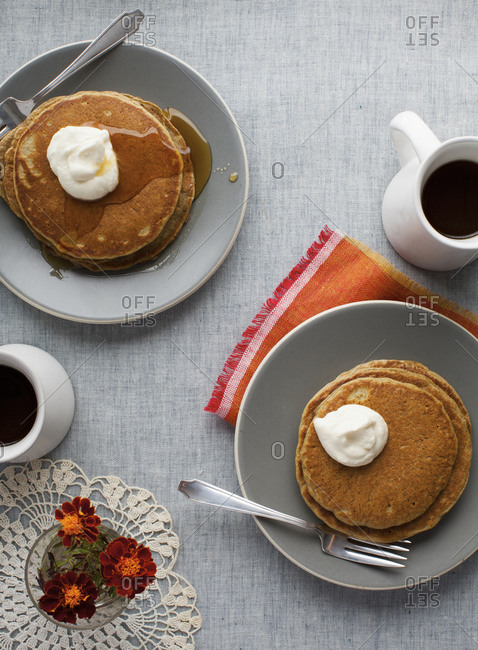 Pumpkin pancakes served with coffee