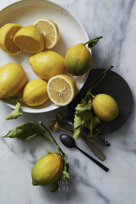 Ripe lemons on a plate