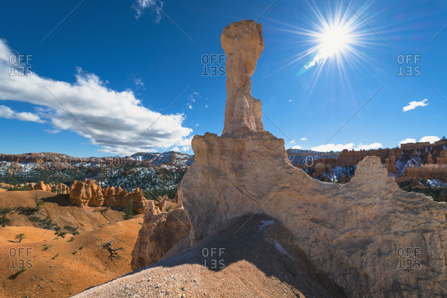 View of rock formations in Bryce canyon